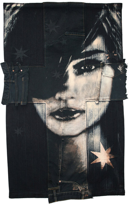 Southern Cross  : 2010 Fabric 1196 x 749 mm  Bleaching technique & dye on vintage denim and cotton drill. Able & Baker Gallery 3350€ Euro