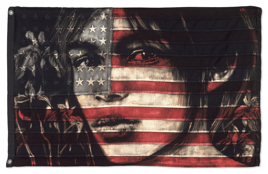 About a Girl : Flag size approx 885 x 555 mm, Framed size approx 1025 x 695 mm. Dye and bleach on vintage stars and stripes. Available soon.