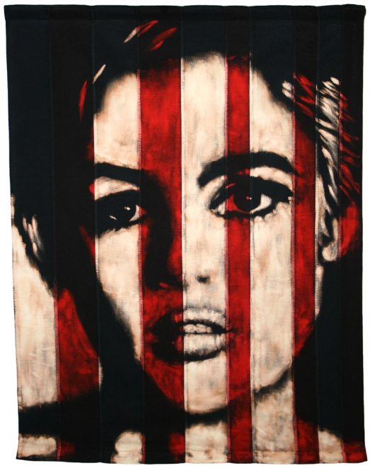 A certain kind of love : Edie Sedgwick from Warhol's screen test. Bleaching technique & dye vintage 60s American flag. Flag 899x1159mm.Framed approx 984x1279mm