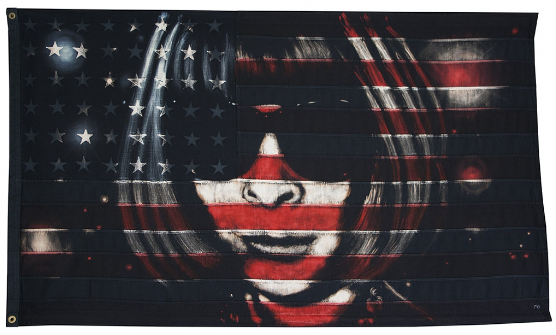 Anna  : 2013. 54 x 32 inch, Bleaching technique and dye on vintage stars and stripes, Portrait of Anna Wintour