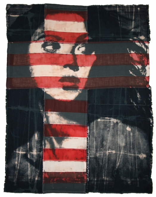 Aoki  : 2009. Portrait of Devon Aoki.  flag size 98 x 78cm, black box frame. Bleaching technique & dye on handmade flag made from vintage American flag & Denim