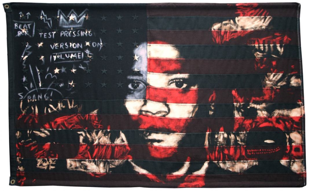 Basquiat : Portrait of Jean Michel Basquiat. 2010 Bleaching technique and dye on vintage 1950s American flag with 48 embroidered stars. Flag size 1437 x 891 mm Framed in black box frame approx 1537 x 1031 mm