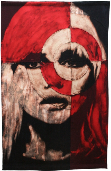 Blondie : Bleaching technique & dye on linen & cotton handmade piece. Flag 1259 x 808mm Framed approx 1399 x 908mm