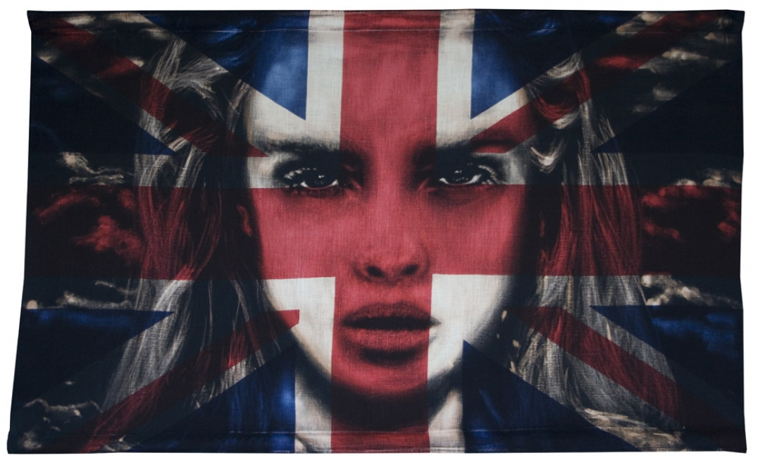 Calm before the storm : 2013. 34.6 inch x 21.1 inch, Bleaching Technique and dye on vintage union jack, Portrait of Cara Delevingne
