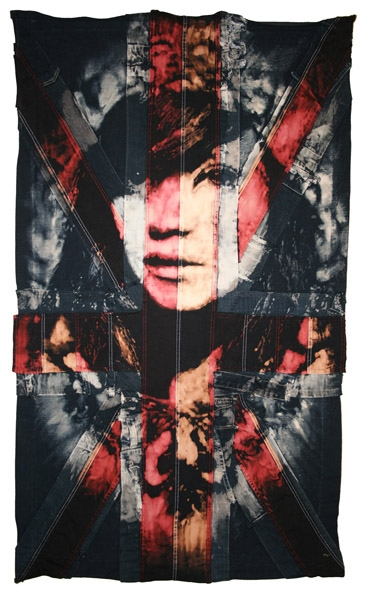 Candypop Antichrist.  : 2009. Portrait of Lily Allen 70 x 120 cm/ 28 x 47 inches, Bleach & Dye on handmade Union Jack made from vintage denim and American flag.  <br />
