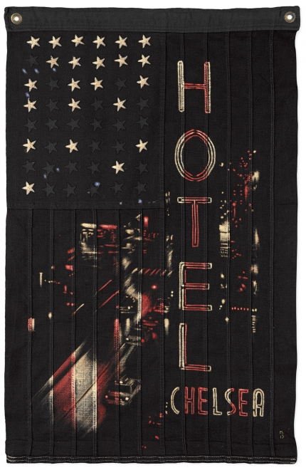 Chelsea Hotel Study : Bleaching Technique & dye on vintage American flag. 89 x 60cm
