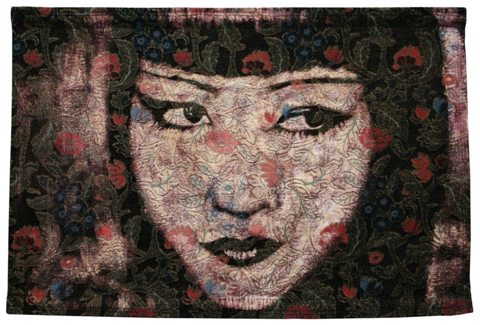 China Rose  : 2011. Portrait of Anna May Wong. Ink, dye & bleaching technique on heavy-weight vintage botanical fabric. Fabric size 887 x 596 mm, box frame approx 1027 x 736 mm