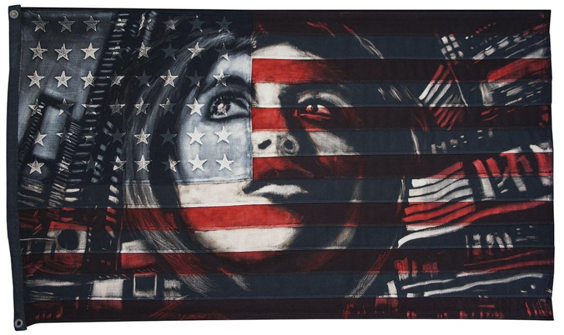 Cindy  : 2013. 54.5 x 30.5 inches, Bleaching technique and dye on vintage stars and stripes, Portrait of Cindy Sherman, Blank Space NYC $6150 USD