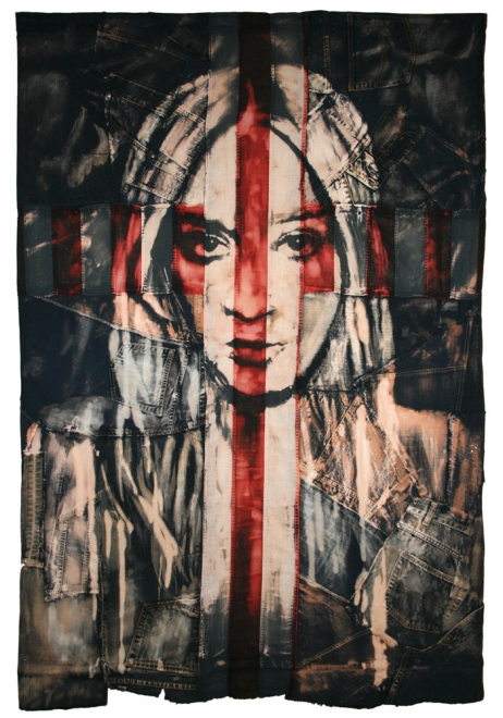 Cult : 2009 Dye and Bleaching technique on vintage American flag & vintage denimhandmade flag. Flag size 98x142 cm, framed approx 109x159 cm.