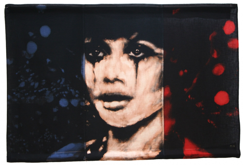 Dancer : Portrait of Francoise Dorleacas as Solange in 'Les Demoiselles de Rochefort', with circus lights. Bleaching technique & dye on vintage French flag. Flag size 578 x 856 mm. Framed in black box frame approx 68.3 x 92.6 cm