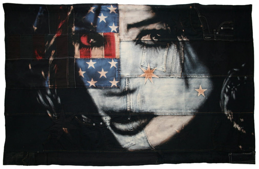 Nightfall : 2010. Flag size 1292 x 824 mm Bleaching technique & dye on handmade Australian flag, made from vintage denim, American flag and cotton