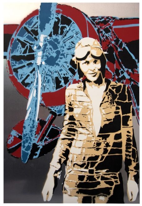 Earhart : 2011 Portrait of Amelia Earhart. Spray Paint on aluminium panel. Edition of 3. Metal size 754 x 503 mm box frame approx 814 x 563 mm