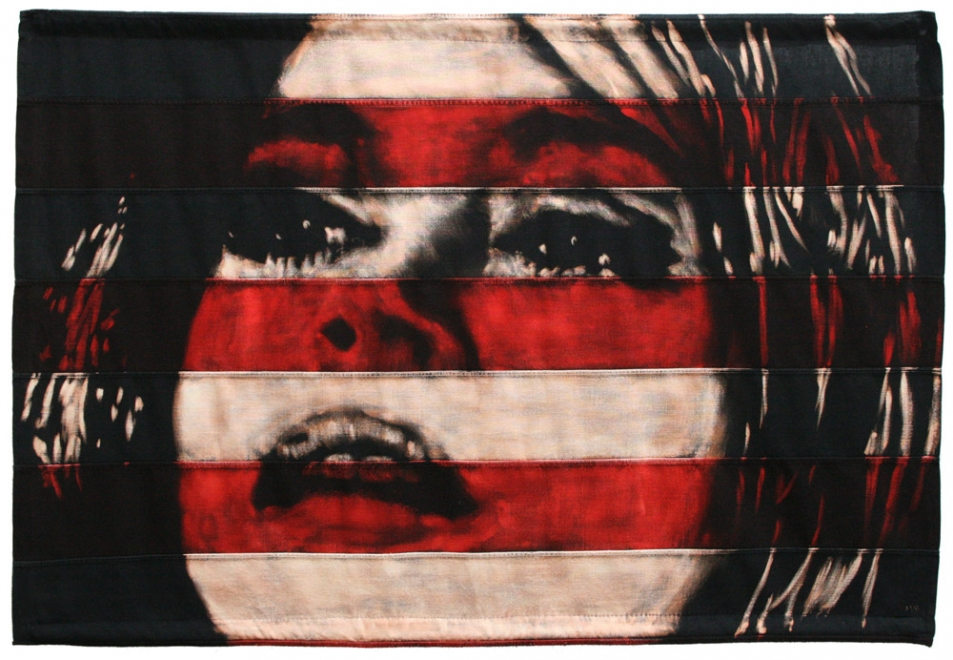 Erotica : Portrait of Jane Fonda as Barbarella. Bleaching technique & dye on section of a vintage 1960s American flag. Signed by the artist. Flag size 1138 x 786 mm. Framed in black box frame. Frame Size approx: 122.3 x 90.6 cm. Available from Eddie Lock