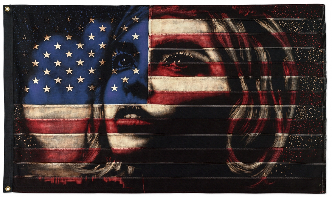 Fire in the Sky : Bleaching technique & dye on vintage American Flag. Framed size 101cm x 164cm