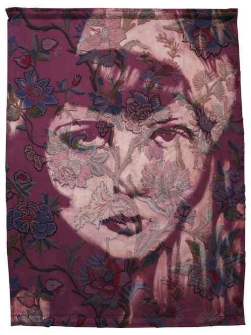 Flapper : 2011. Clara Bow. Ink, dye & bleaching technique on heavy-weight antique 1930s crewel work textile. Fabric 1236x929 mm, frame approx 1376x1069 mm