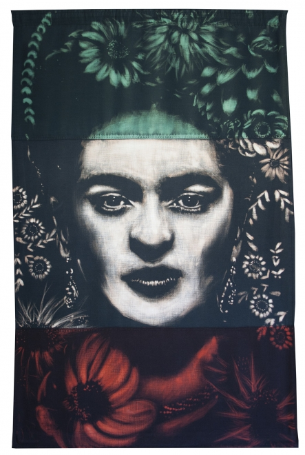 Frida : Dye and bleach on handmade flag, made from vintage flag fabric.39 3/8 inch Height x 27.5 inch Width x 1 1/8 inch Deep.