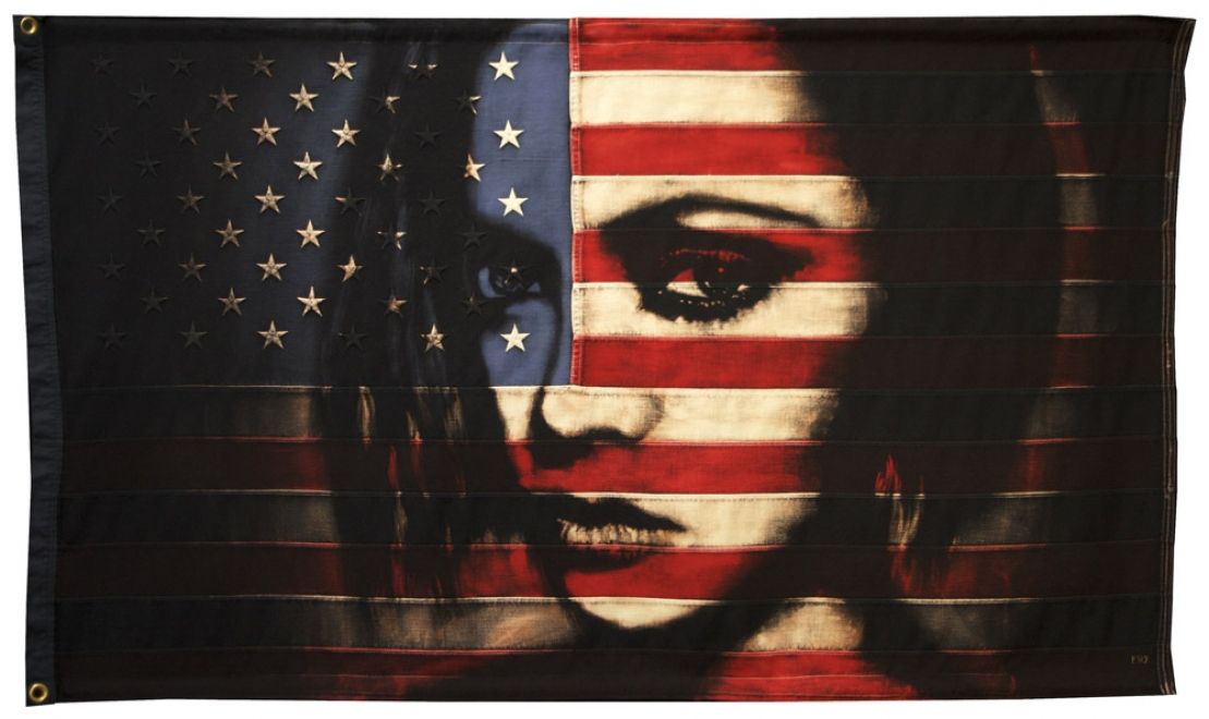 Fade to Black : 2012. Flag size 1457 x 833 mm Bleaching technique and dye on vintage American flag.
