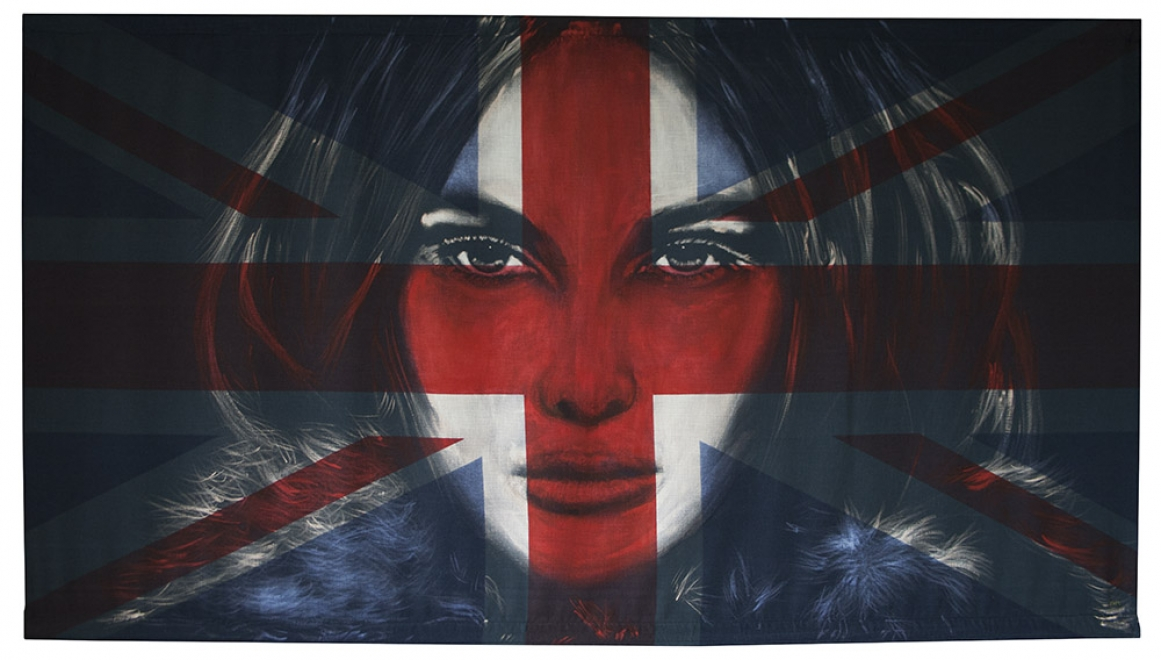 Furs : 2013, fabric 1520 x 835 mm, framed size is 165 x 97 cm<br>Bleaching technique and dye on vintage union jack. Available from Villa Del Arte Amsterdam