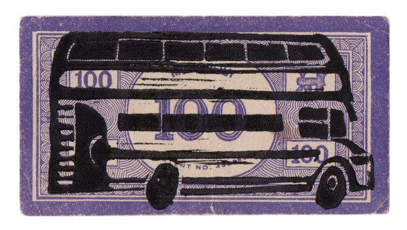 Bus Lino Print Purple (going right)