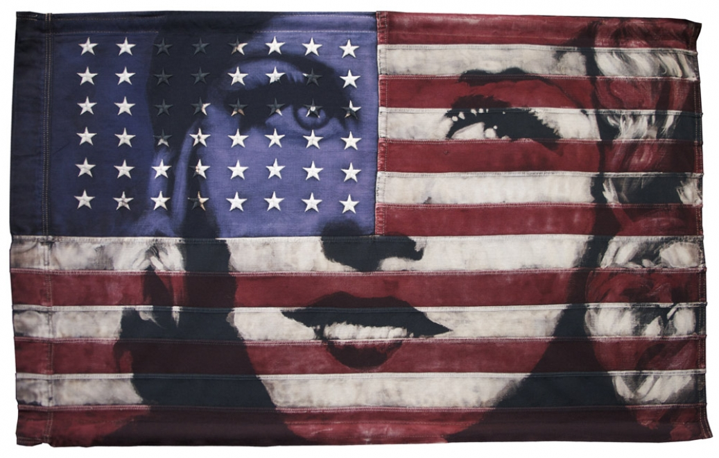 Ginger Rogers : 2011. Portrait of Ginger Rogers. Dye & bleaching technique on vintage 48 Star American Flag. Flag size 945 x 578 mm, box frame approx 1085 x 718 mm. Available from Mauger Modern London
