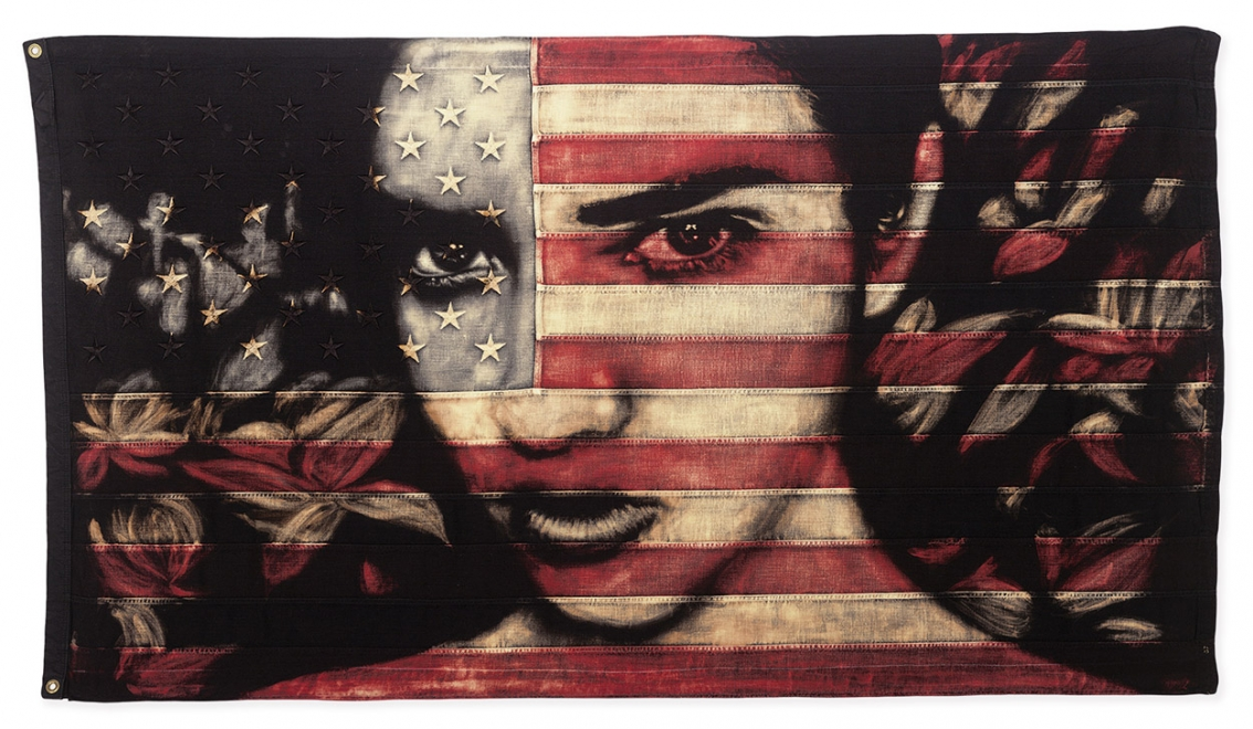 Haze : Flag size 1490 x 840 mm. Framed size approx 1630 x 980 mm. Dye and bleach on vintage Stars and stripes. Available soon.