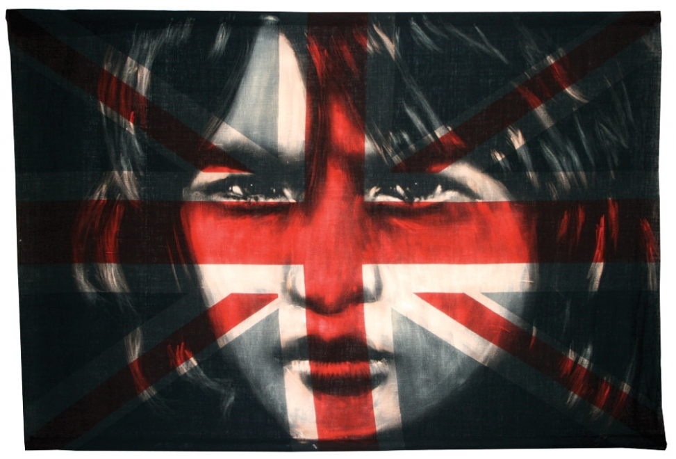 Heritage : 2012, Flag size 1440 x 975mm,Bleaching technique and dye on vintage union jack