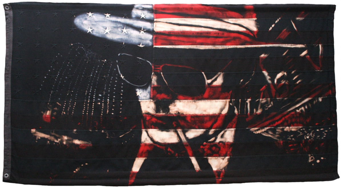 Hunter : Portrait of Hunter S Thompson with Vegas lights. Bleaching technique and dye on vintage 1950s American flag with 48 embroidered stars. 2010 Unique Signed by the artist Flag size 1490 x 795 mm Framed in black box frame approx 1590 x 935 mm