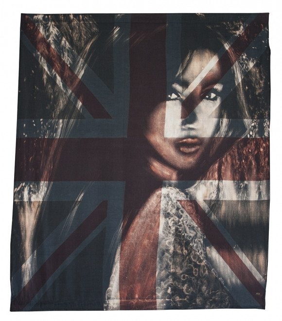 Interval : Bleaching technique & dye on vintage union jack, Flag 835 mm x 958 mm,  Framed size approx 970 x 1100 mm