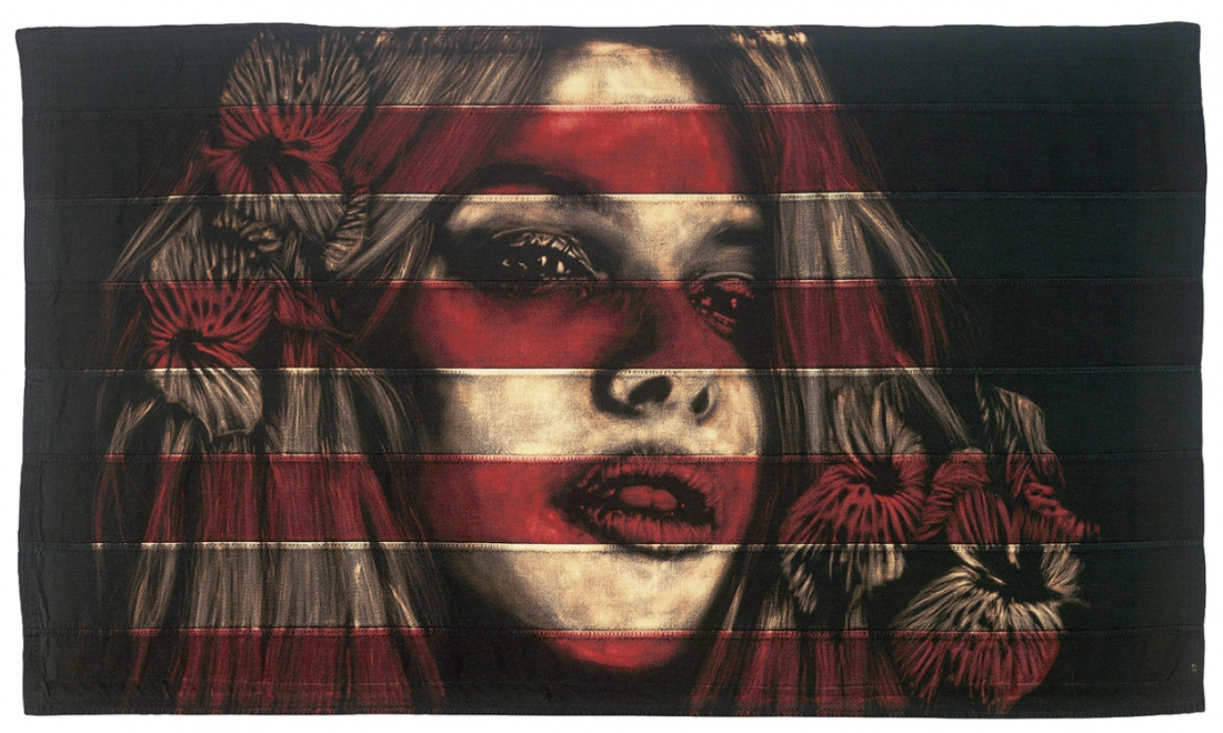 Iris : Framed size approx 1630 x 1005 mm. Dye and bleach on section of vintage american flag. Available soon.