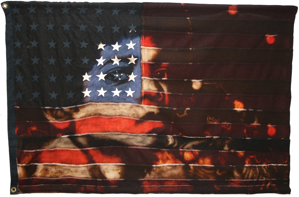 Jackson  : Portrait of Michael Jackson with circus lights. 2010 Bleaching technique and dye on vintage 1950s American flag with 48 appliqued stars. Flag size 1249 x 823 mm Framed in black box frame approx 1349 x 963 mm.