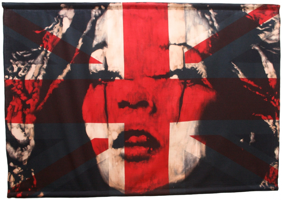 Kate : Portrait of Kate Moss. Bleaching technique & dye on vintage Union Jack flag. Flag size 1409 x 985 mm. Framed in black box frame approx 150.9 x 112.5 cm