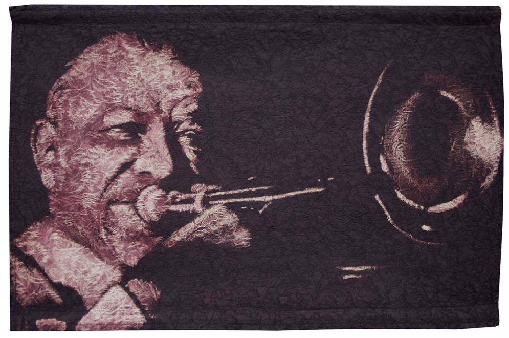 Kid Ory : Portrait of Kid Ory. Dye & bleaching technique on vintage woven brocade fabric. Fabric size 874 x 556 mm, box frame approx 1014 x 696 mm.