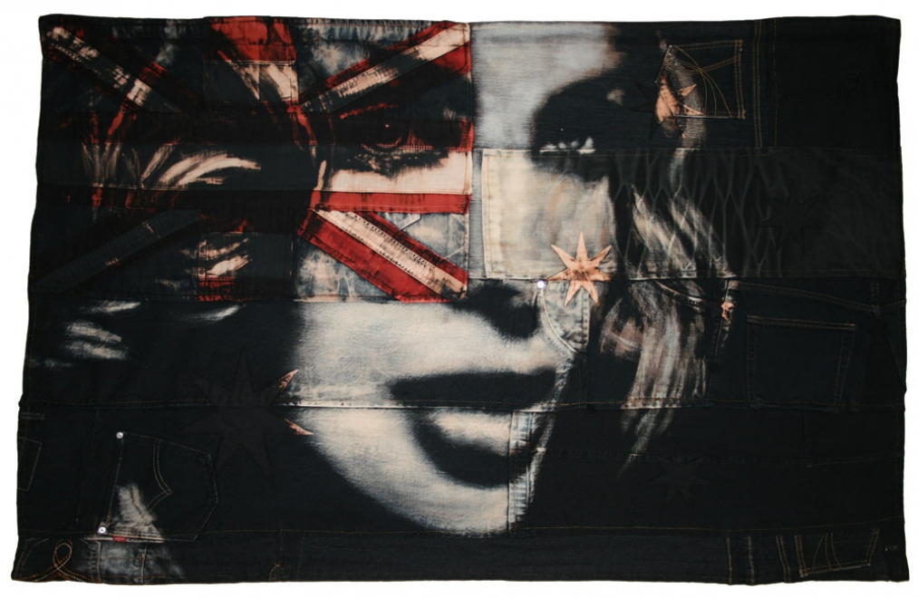 Kylie : 2009. Bleaching technique & dye on handmade Australian flag, made from vintage American flag, vintage denim and cotton. Flag size130 x 83 cm