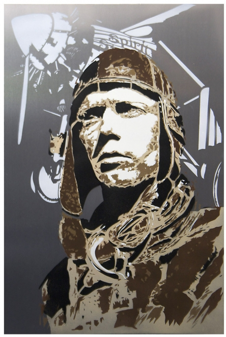 Lindy : 2011. Portrait of Charles Lindbergh. Spray Paint on aluminium panel. Edition of 3. Metal size 754 x 504 mm, Box frame approx 814 x 564 mm