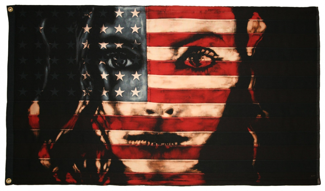 Looking Glass : 2009. flag size 82 x 144 cm. Bleaching technique & dye on vintage American flag in black box frame<br />
