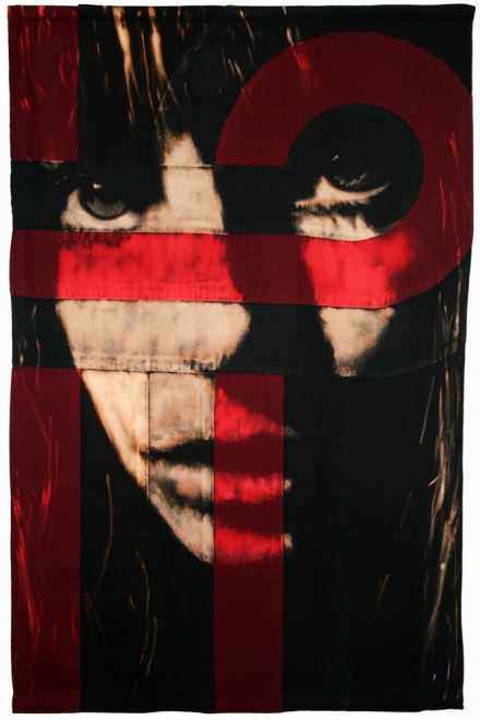 Loop : Jane Birkin. 2010 Bleaching technique & dye on linen & cotton. Flag 1247 x 804 mm, frame approx 1387 x 904 mm