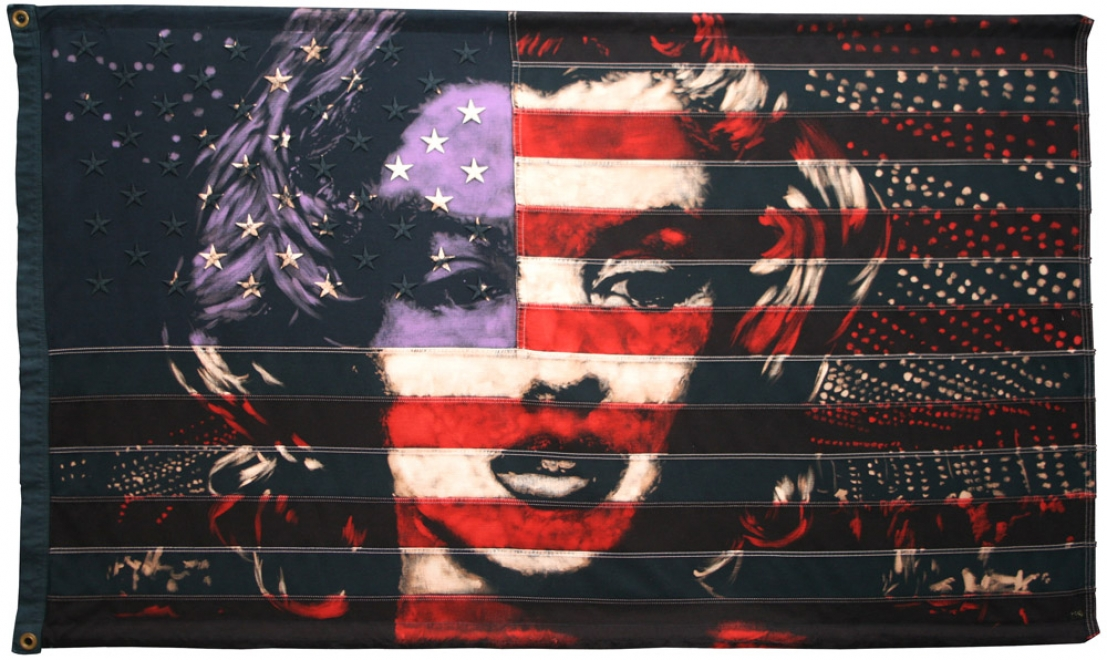 Marilyn  : Portrait of Marilyn Monroe. Bleaching technique and dye on vintage 1960s American flag with 50 embroidered stars. £3595 2010 Unique Signed by the artist Flag size 1492 x 869 mm Framed in black box frame approx 1592 x 1009 mm