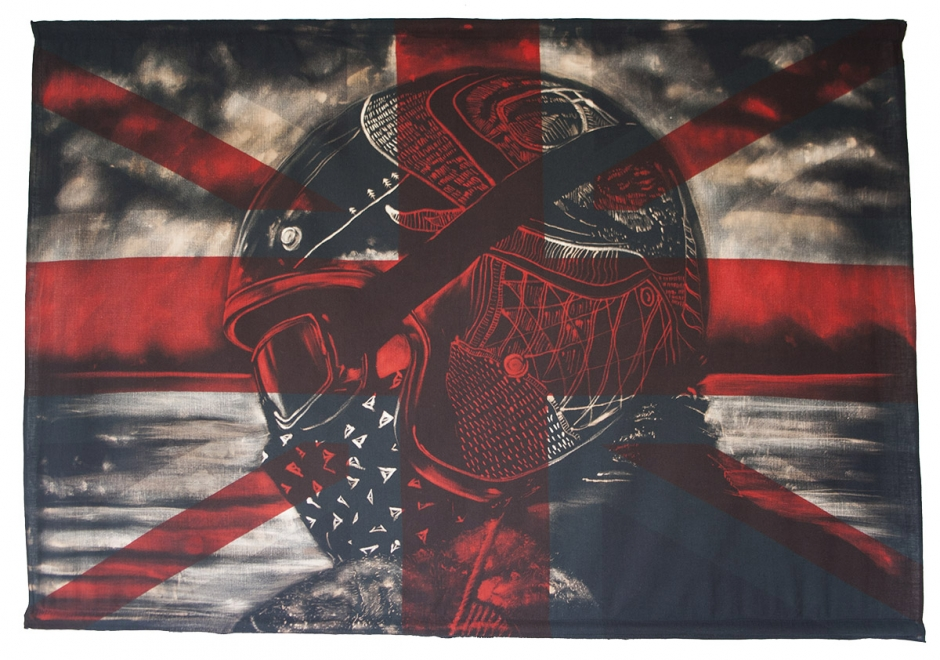 Collaboration with Merry Michau : Bleaching technique and dye on vintage union jack. 141 x 97 cm