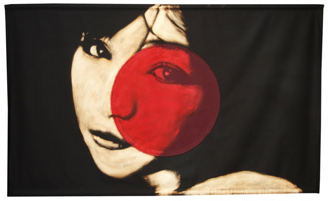 Mika : 2011 Portrait of Japanese woman. Bleaching technique & dye on handmade Japanese flag. Made from cotton. Able & Baker 4250€