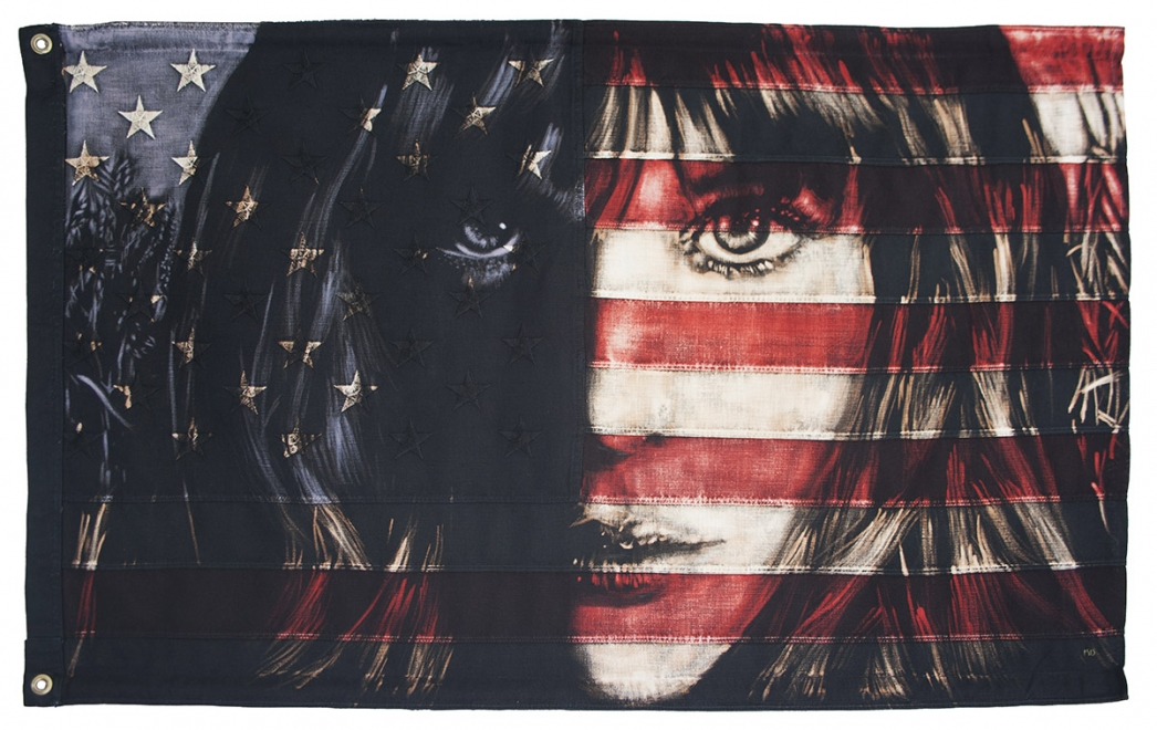 Night And Day : Bleaching technique and dye on vintage American Flag. 625 mm x 1025 width, Only Art Club- Hamburg, Germany