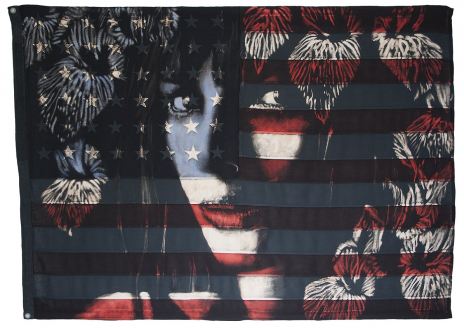 Night Garden 2014 : Bleaching technique & dye on vintage american flag. Flag size 1070x 1480 mm. Framed size approx 1210 x 1620 mm framed with white backing & fillet and black frame.