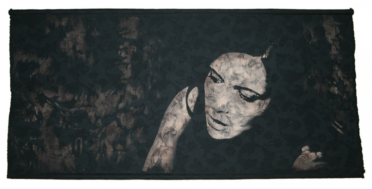 Night Shade  : 2008. Fabric size 143 x 69 discharge & dye on brocade. Framed in black box frame