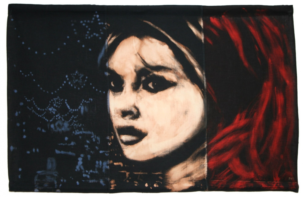 Parisienne : Portrait of Brigitte Bardot with city lights in Paris. Bleaching technique & dye on vintage French flag. Flag size 554 x 862 mm. Framed in black box frame