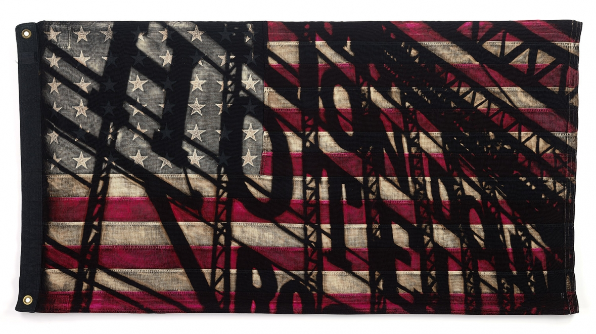 H.O.T.E.L. : Bleach and dye on vintage American flag. 83 x 146 cm