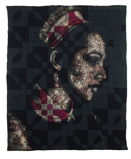 Maid : Bleach, dye and ink on vintage quilt, 118 x 101 cm