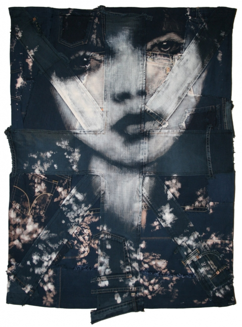 Porcelain  : 2009. Portrait of lily Cole. Bleaching technique & dye on vintage denim handmade union jack. flag 101 x 73cm.