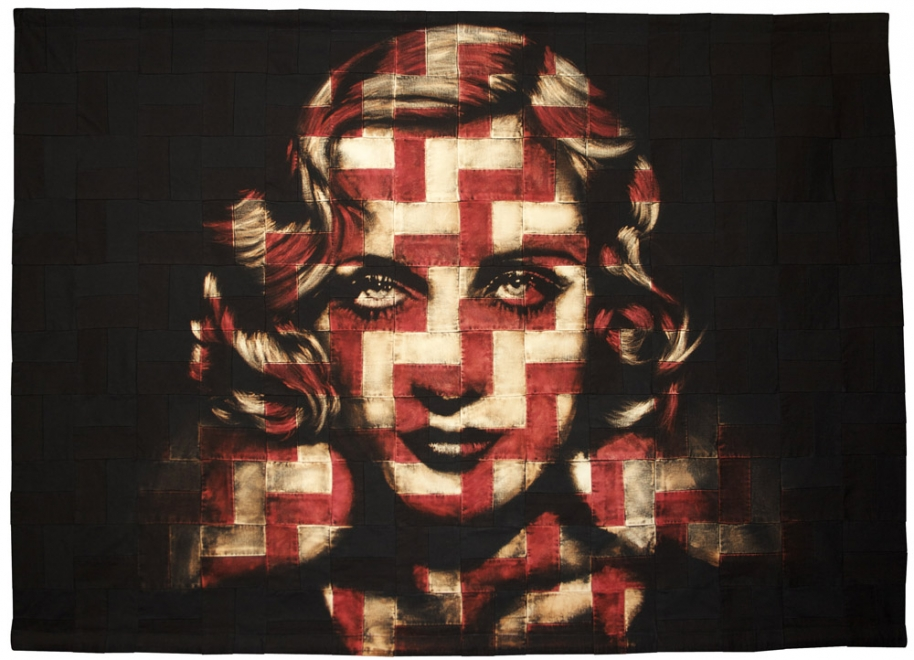 Profane Angel : 2011. Portrait of Carole Lombard. Ink, dye & bleaching technique on handmade zig zag quilt. Fabric size 1536 x 1105 mm, box frame approx 1676 x 1245 mm
