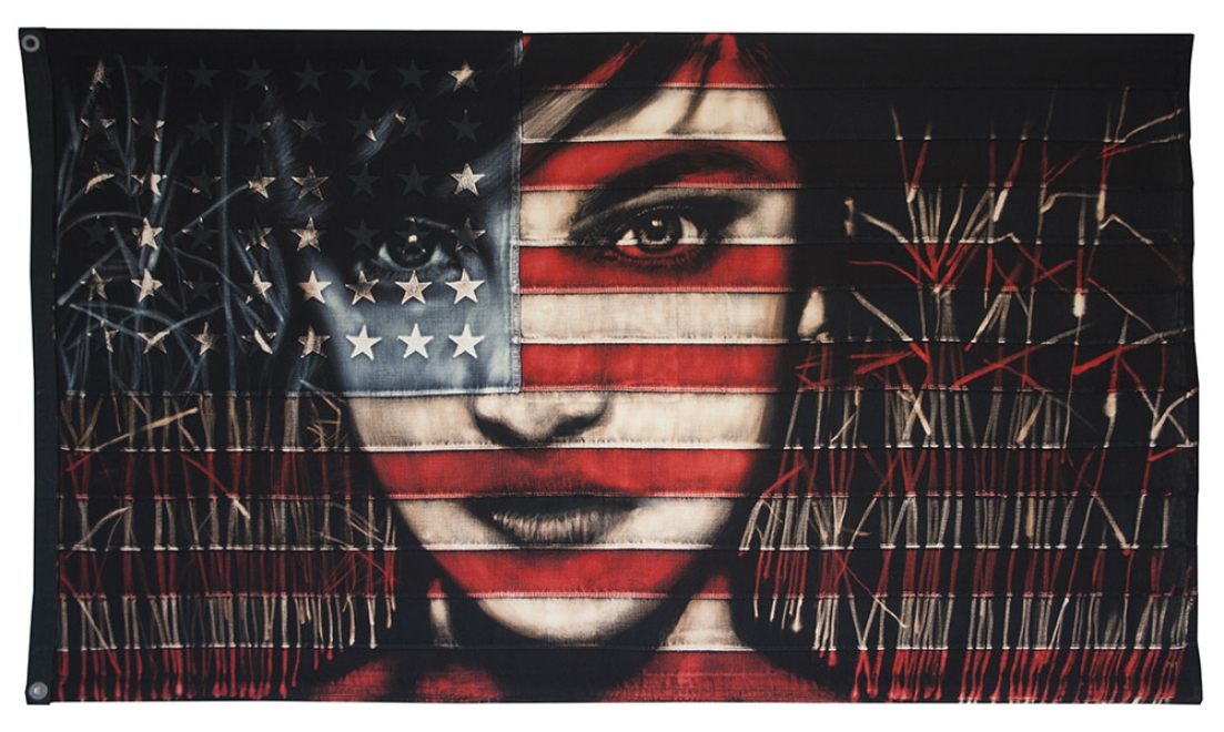 Reeds : Bleaching technique &amp; dye on vintage American flag<br>Flag 1425 mm x 825 mm,  Framed size approx 1560 x 960 mm