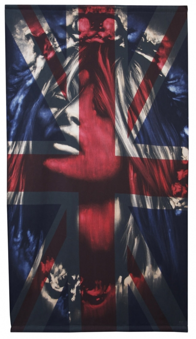 Rococo : Rococo 2011 Dye & bleaching technique  on vintage Union Jack. 1513 x 834mm, framed approx 1633 x 954 mm approx