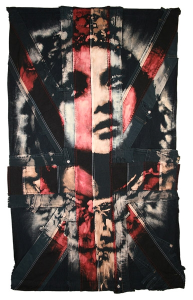 Saint : 2009. Portrait of lily Cole. flag size 72 x 118 cm/ 28 x 47 inches, in black box frame. Bleaching technique & dye on handmade Union Jack made from vintage denim and American flag.